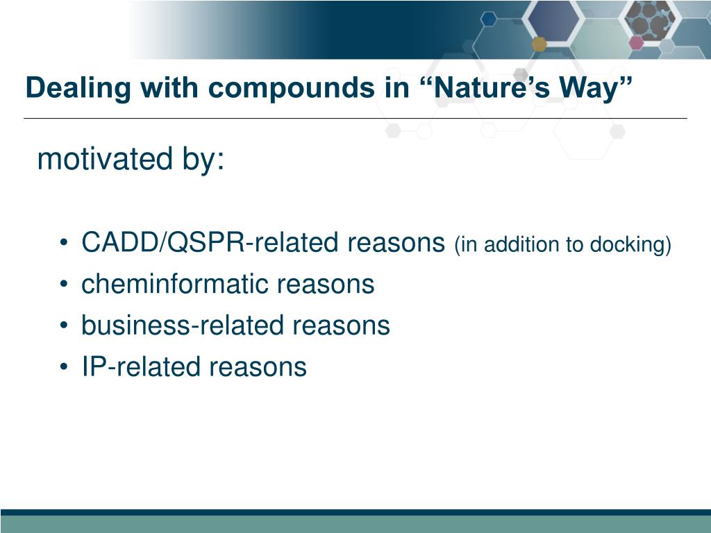 """Dealing with compounds in """"Nature's Way"""""""