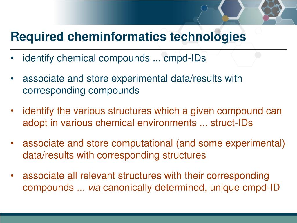 Required cheminformatics technologies