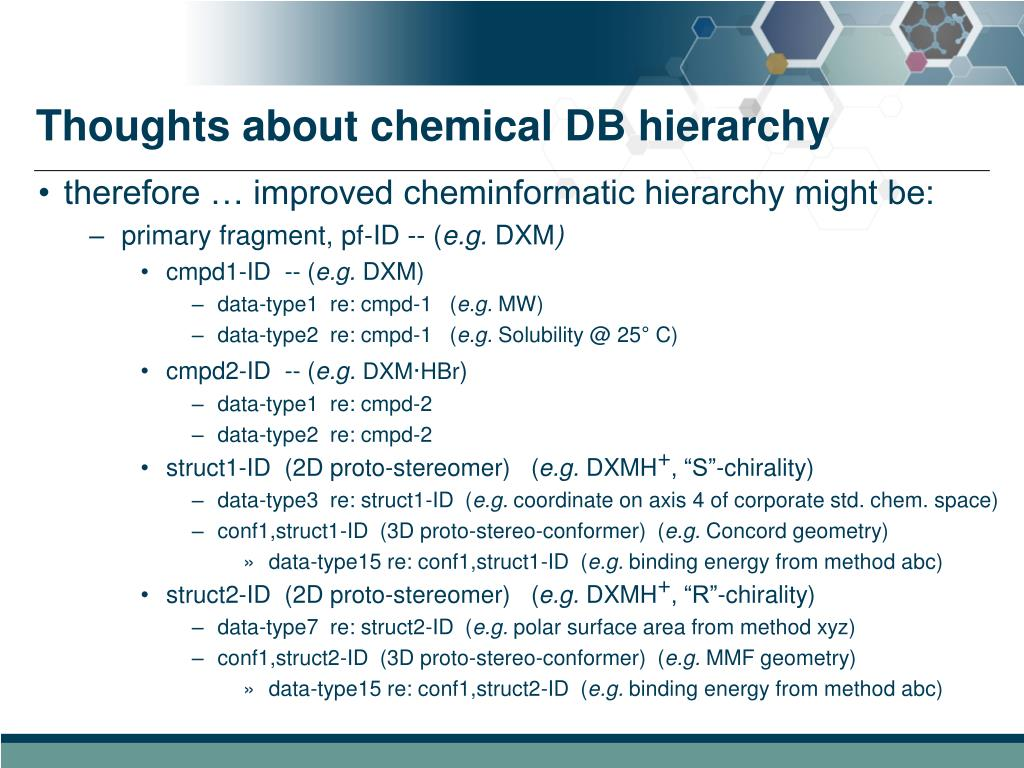 Thoughts about chemical DB hierarchy