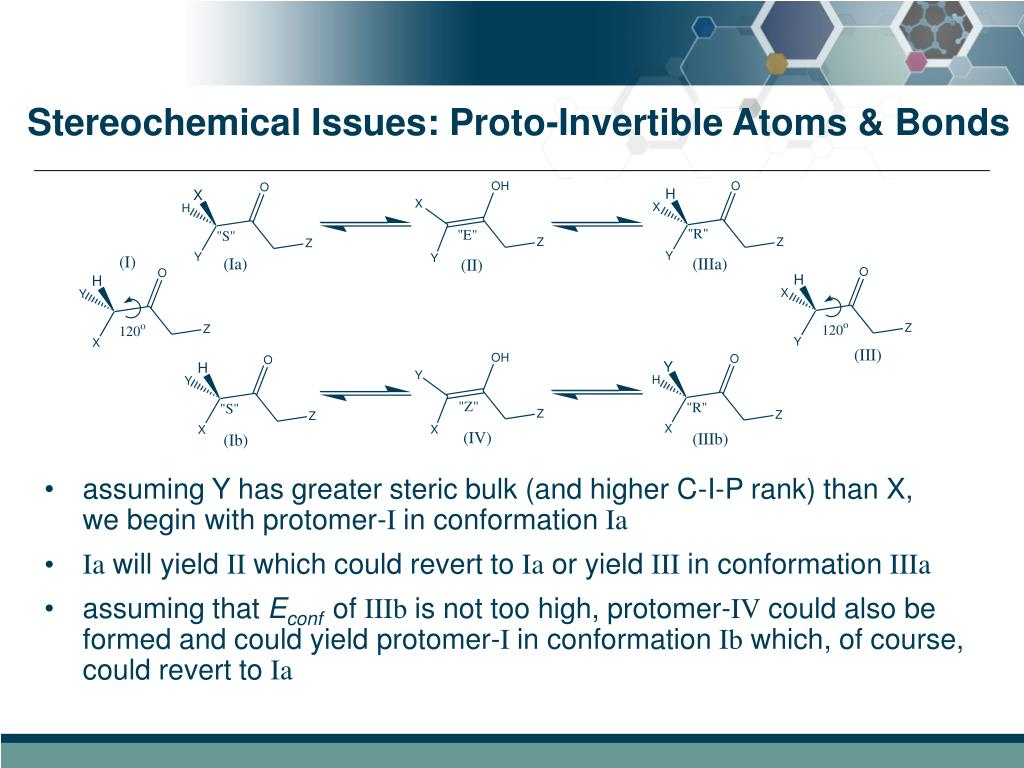 Stereochemical Issues: Proto-Invertible Atoms & Bonds