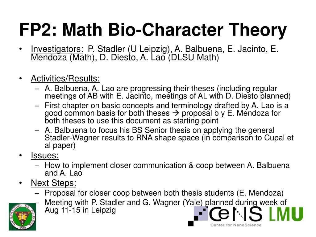 FP2: Math Bio-Character Theory
