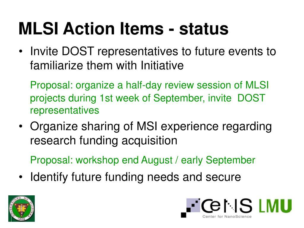 MLSI Action Items - status