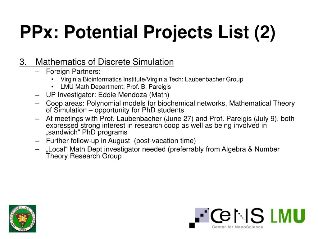 PPx: Potential Projects List (2)