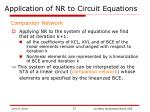 application of nr to circuit equations