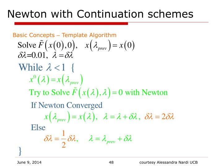Newton with Continuation schemes