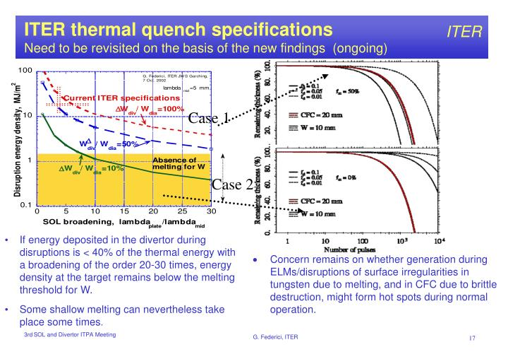 ITER thermal quench specifications