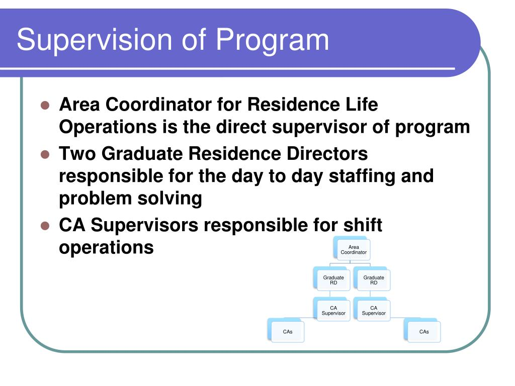 Supervision of Program