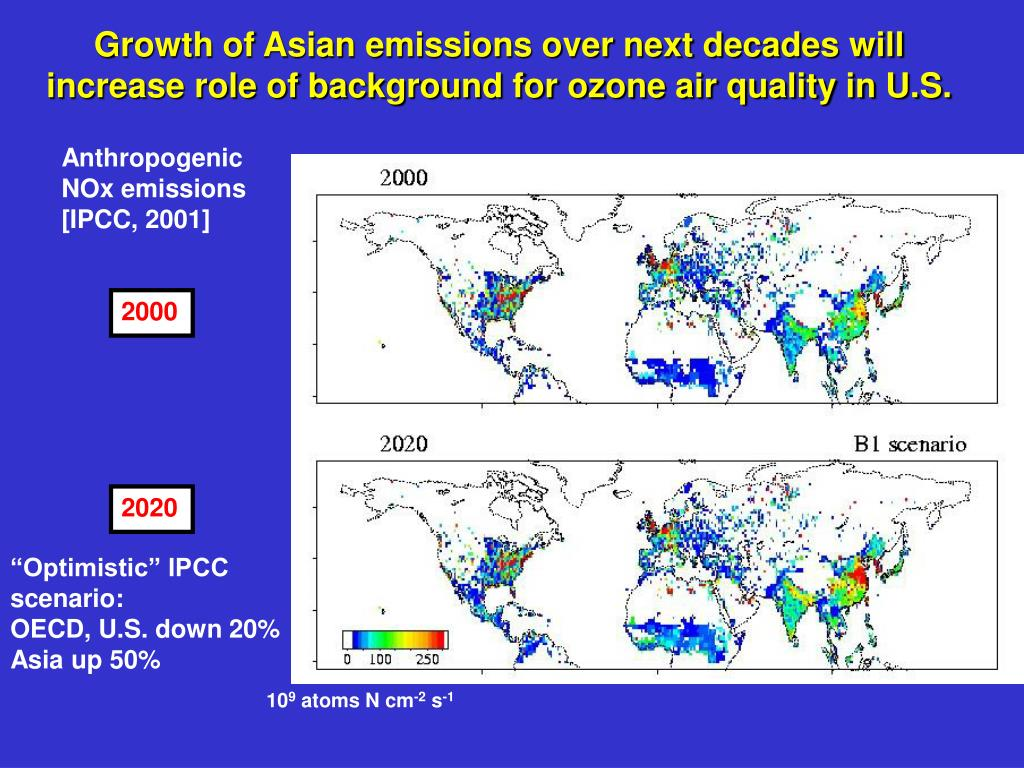 Growth of Asian emissions over next decades will increase role of background for ozone air quality in U.S.