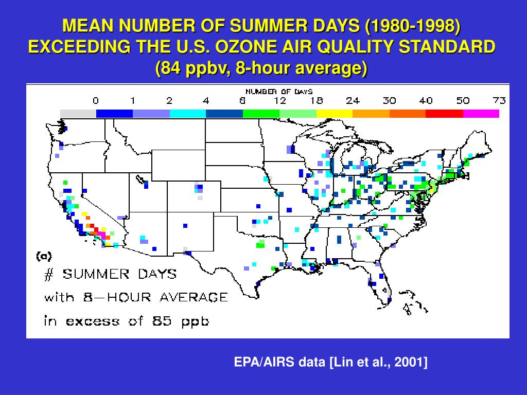 MEAN NUMBER OF SUMMER DAYS (1980-1998)  EXCEEDING THE U.S. OZONE AIR QUALITY STANDARD
