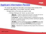 applicant information review