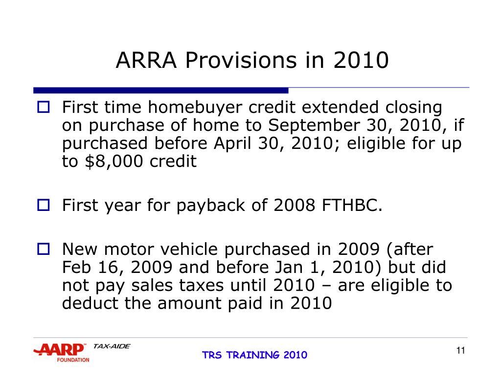 ARRA Provisions in 2010