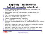 expiring tax benefits subject to possible extenders