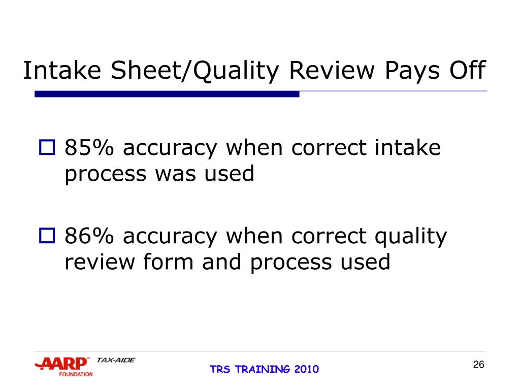 Intake Sheet/Quality Review Pays Off