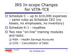 irs in scope changes for vita tce
