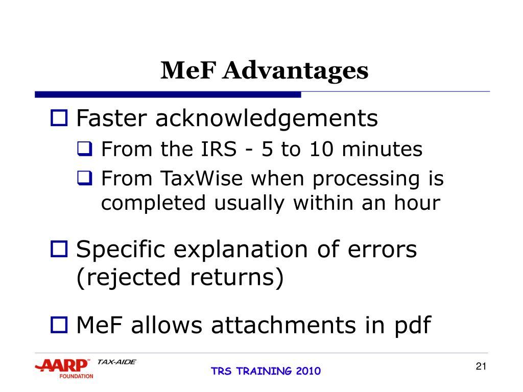MeF Advantages