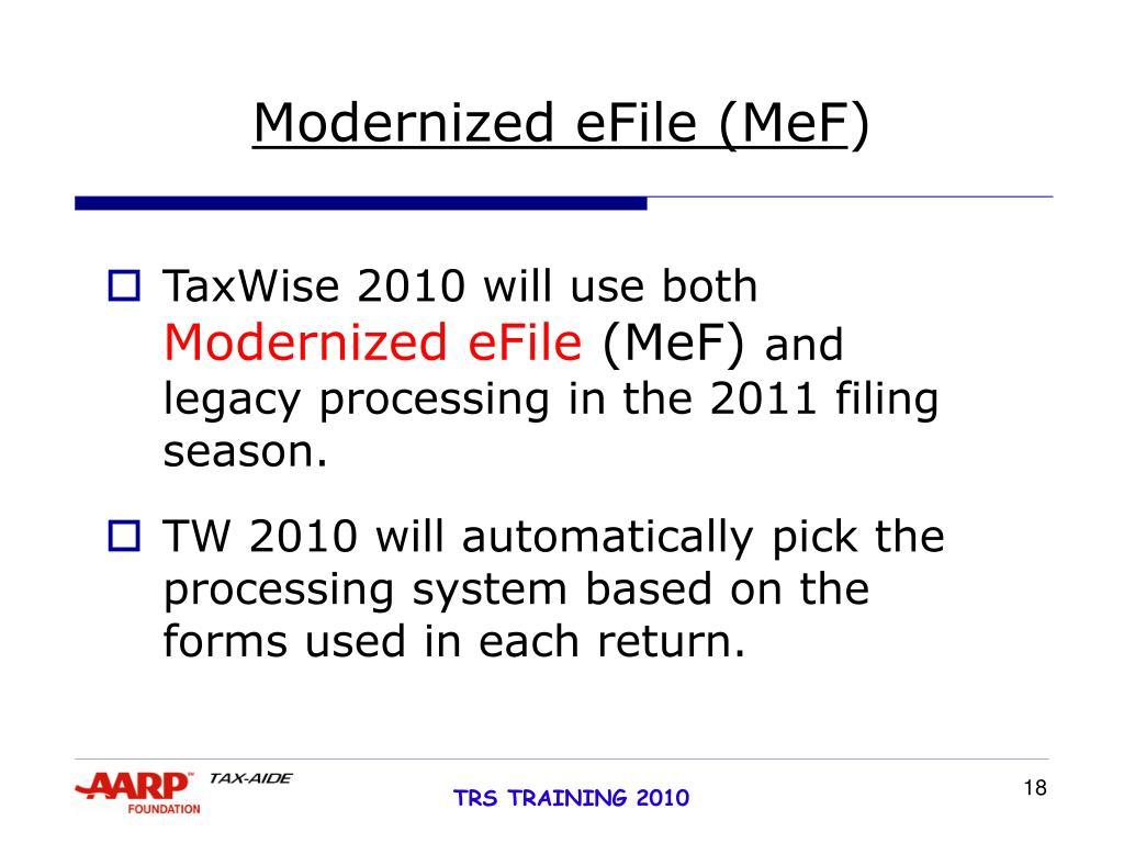 Modernized eFile
