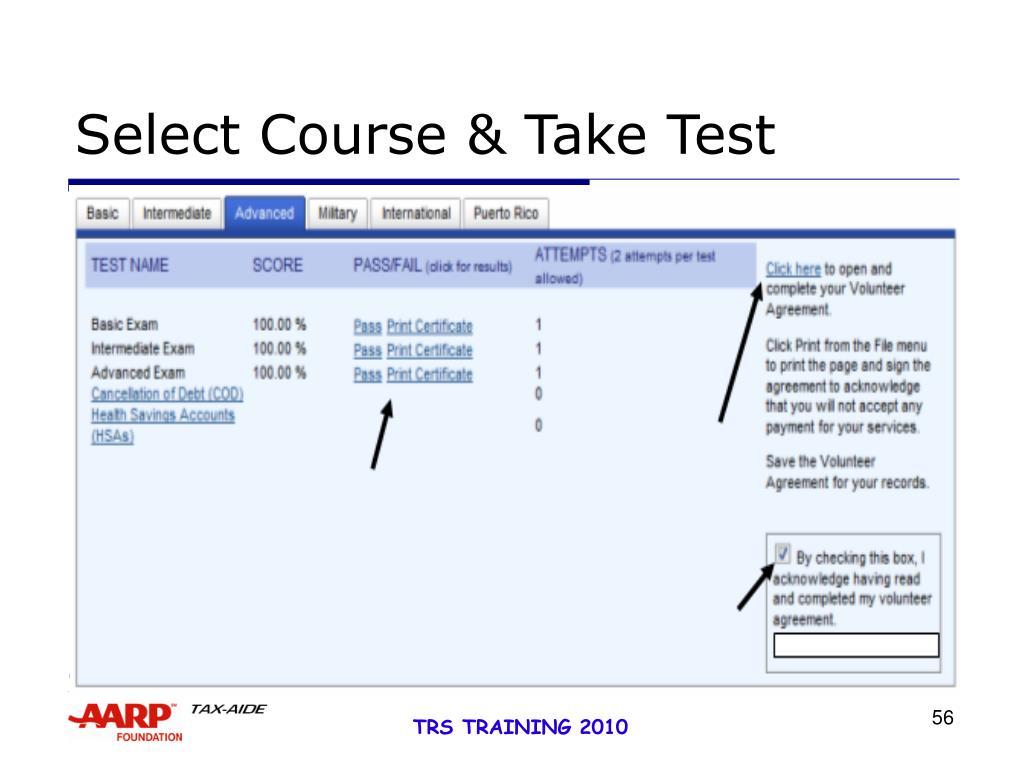 Select Course & Take Test
