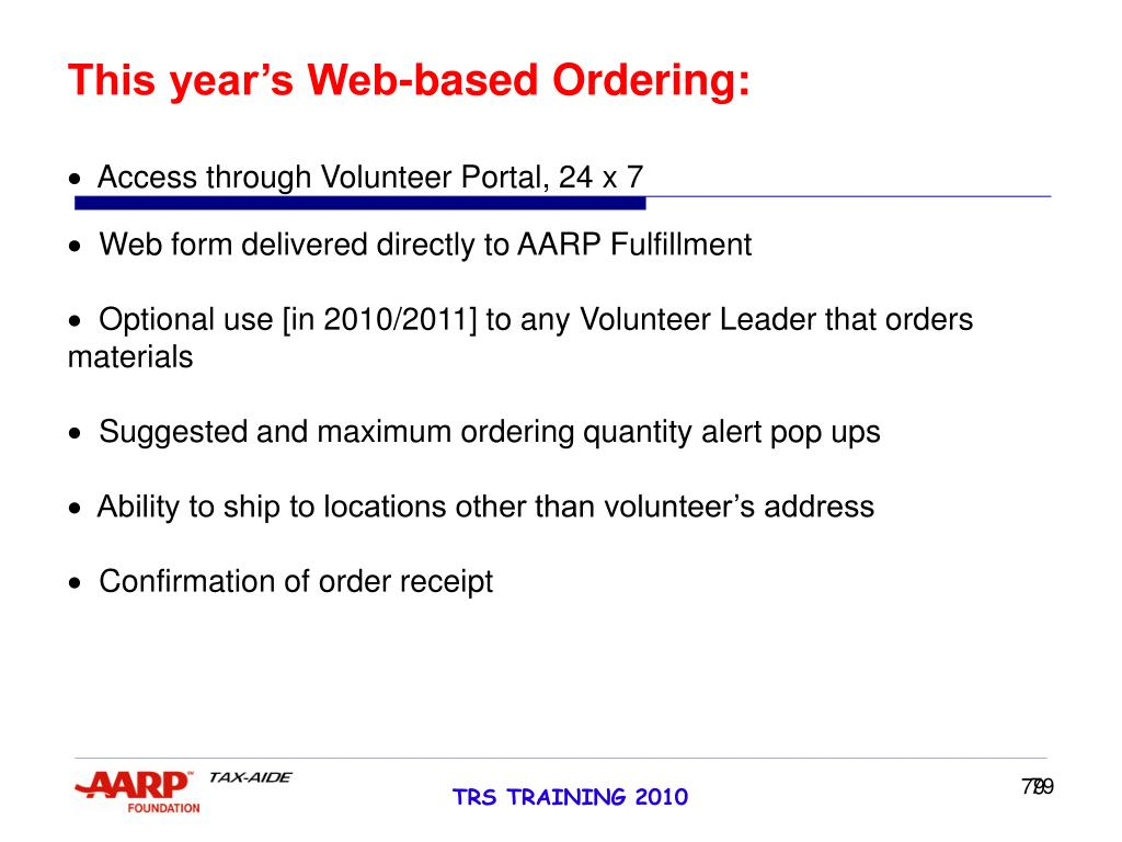 This year's Web-based Ordering: