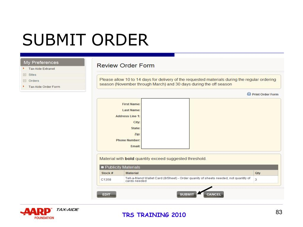 SUBMIT ORDER