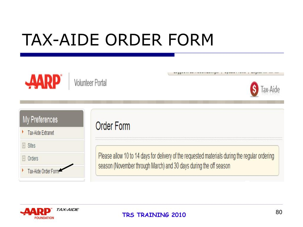 TAX-AIDE ORDER FORM