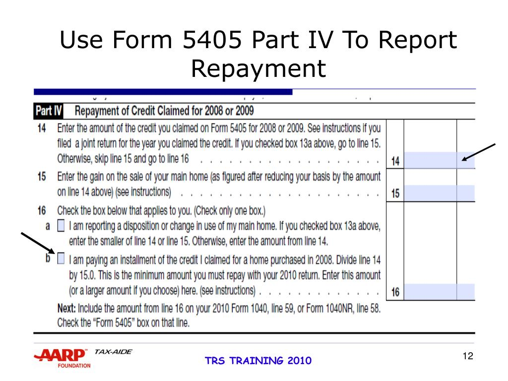 Use Form 5405 Part IV To Report Repayment