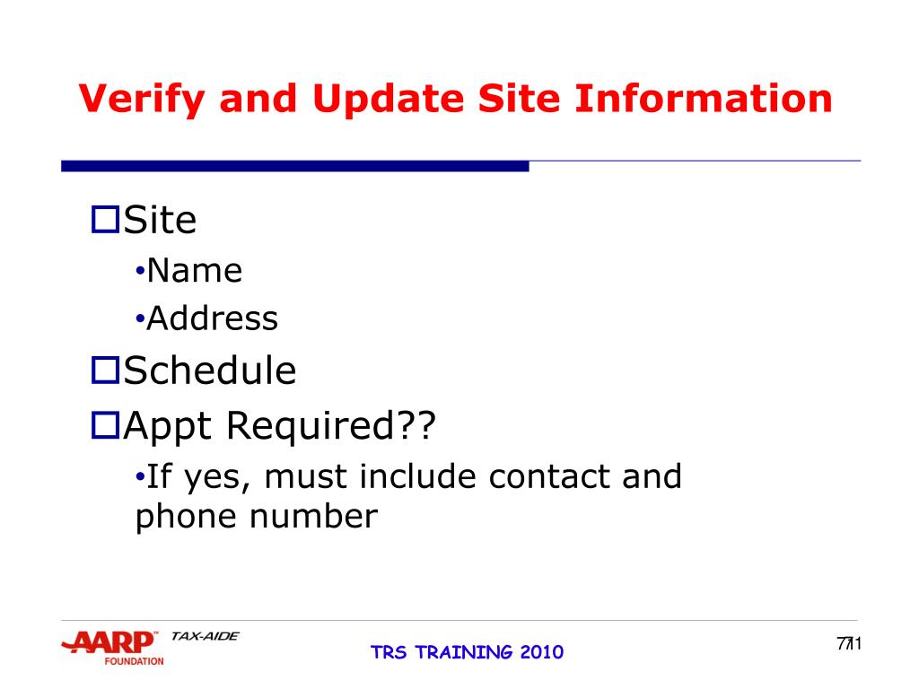 Verify and Update Site Information
