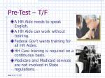 pre test t f