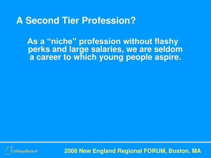 A Second Tier Profession?