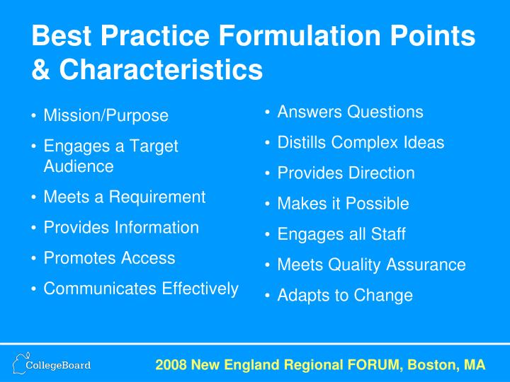 Best Practice Formulation Points & Characteristics