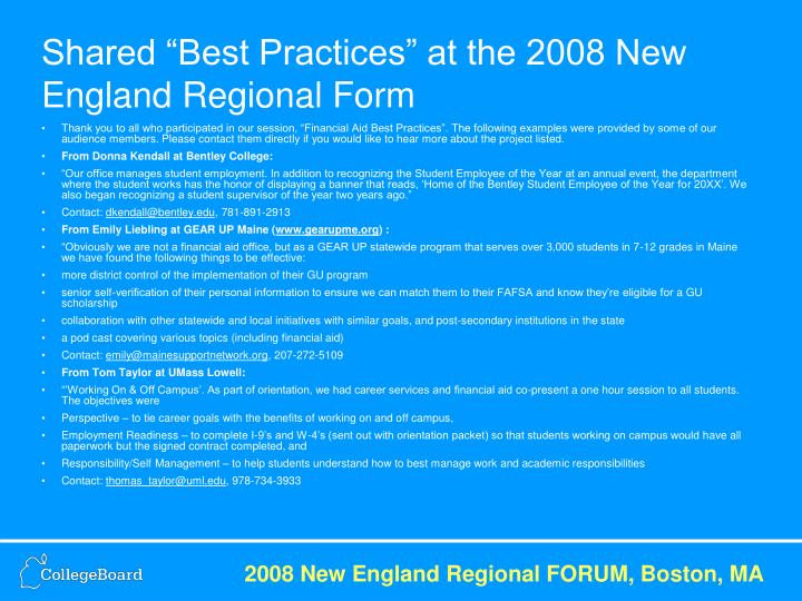"""Shared """"Best Practices"""" at the 2008 New England Regional Form"""