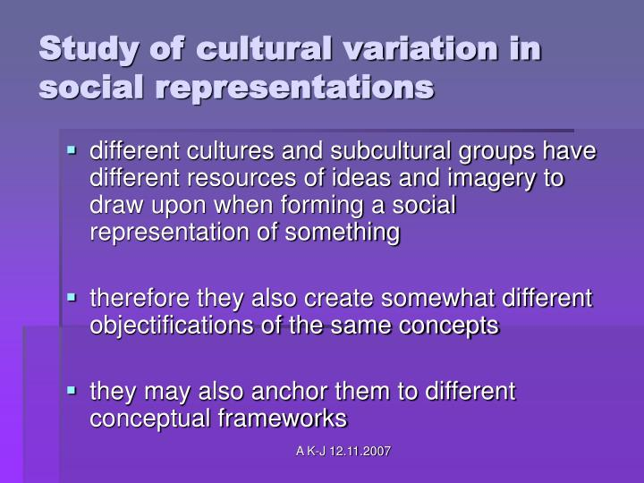 Study of cultural variation in social representations