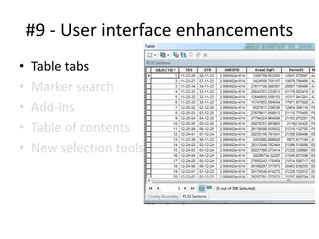 #9 - User interface enhancements