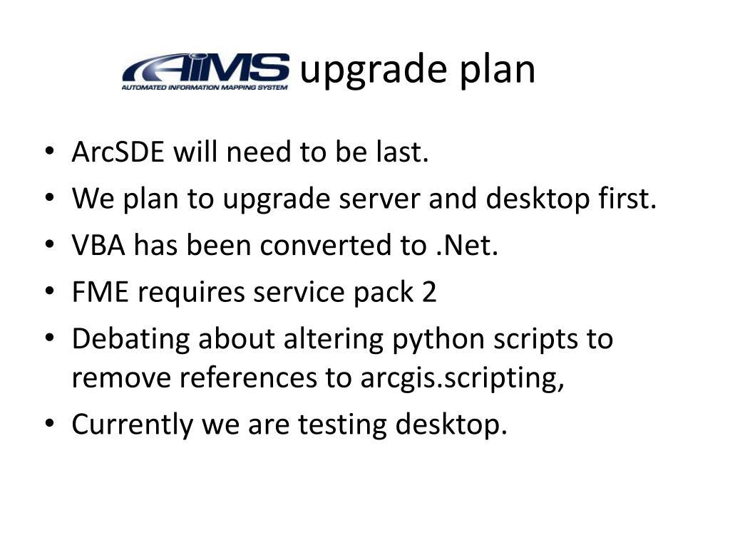 AIMS upgrade plan