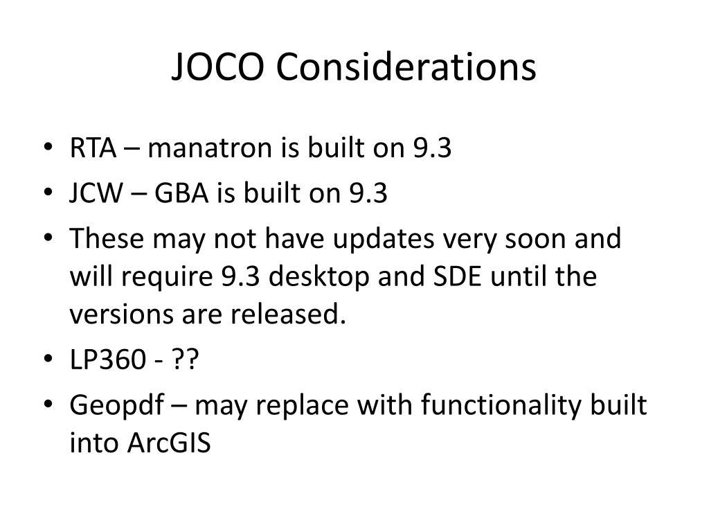 JOCO Considerations