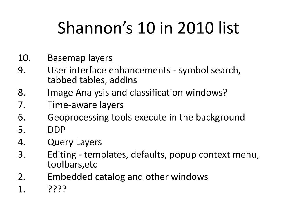 Shannon's 10 in 2010 list