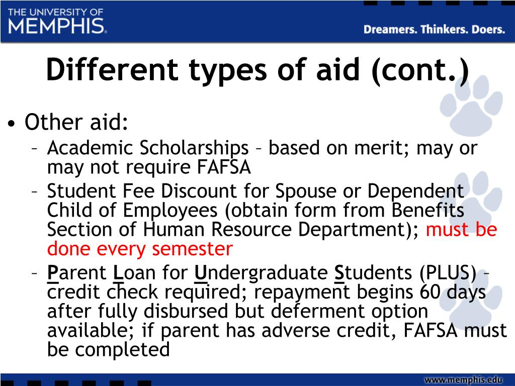 Different types of aid (cont.)