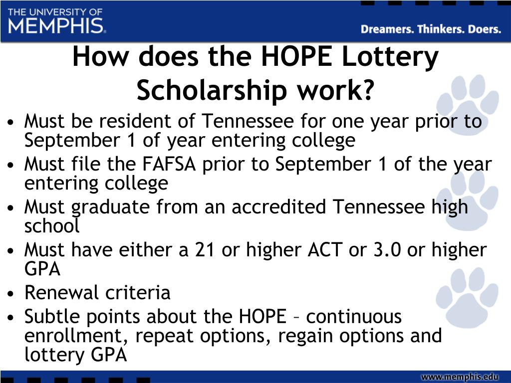 How does the HOPE Lottery Scholarship work?