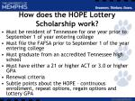 how does the hope lottery scholarship work