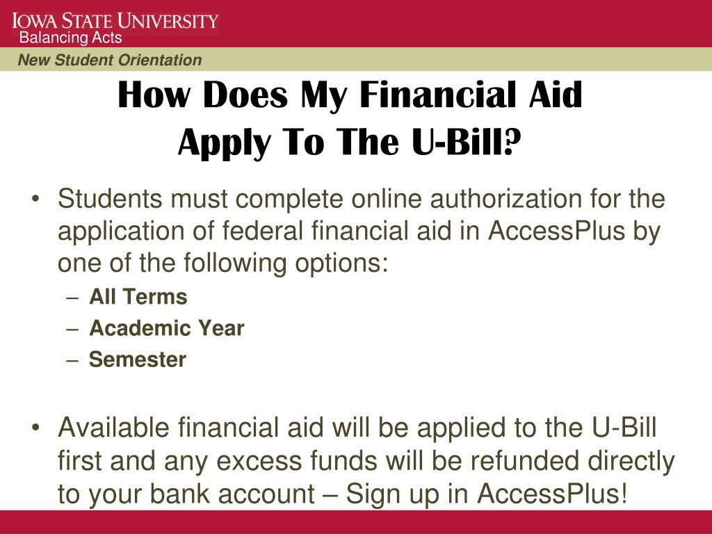 Students must complete online authorization for the application of federal financial aid in AccessPlus by one of the following options: