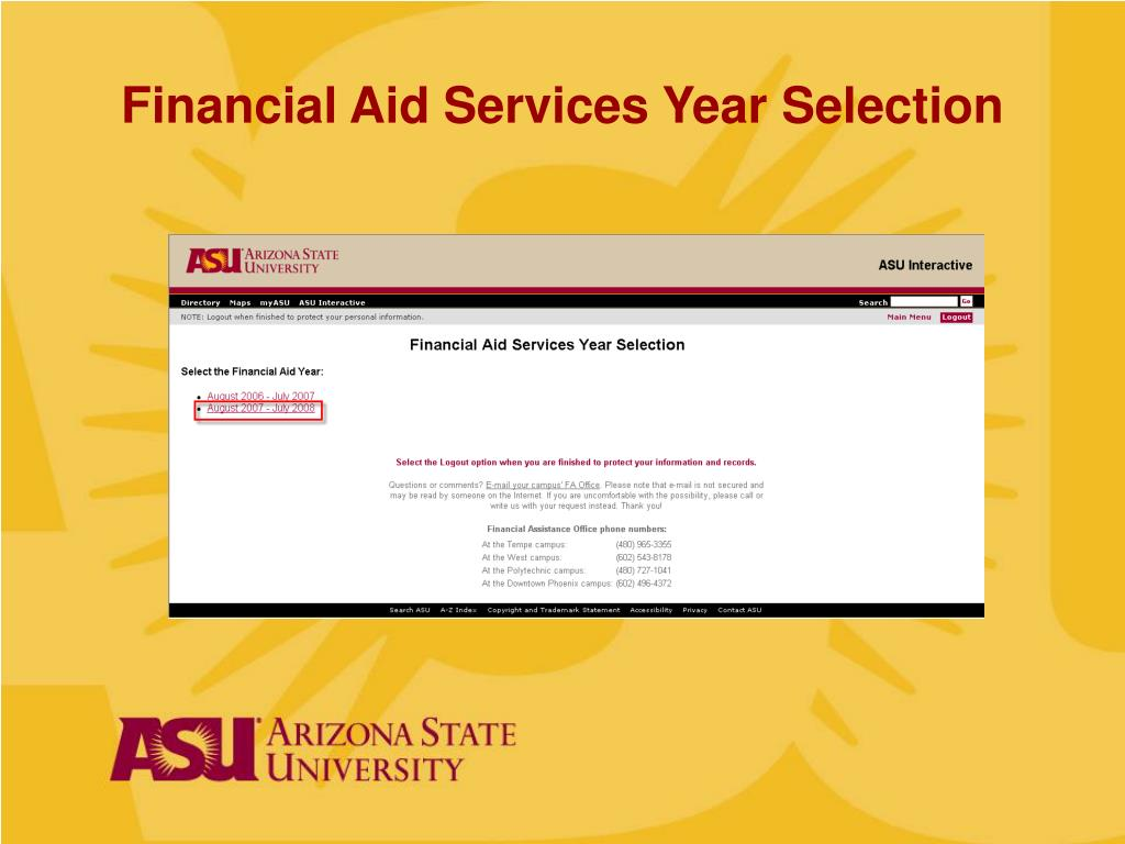 Financial Aid Services Year Selection