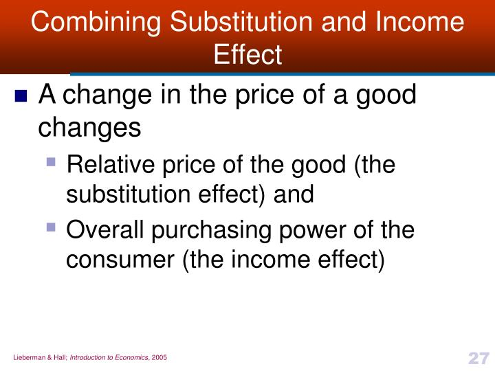Combining Substitution and Income Effect