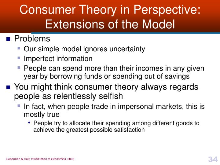 Consumer Theory in Perspective: Extensions of the Model