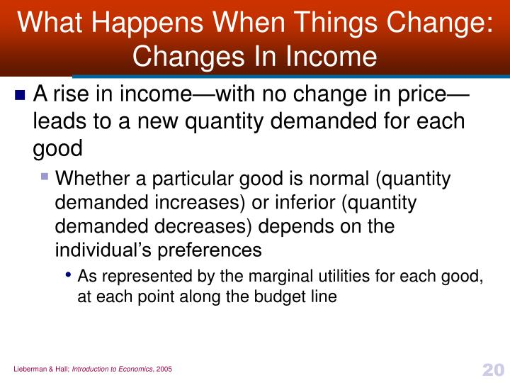 What Happens When Things Change:  Changes In Income