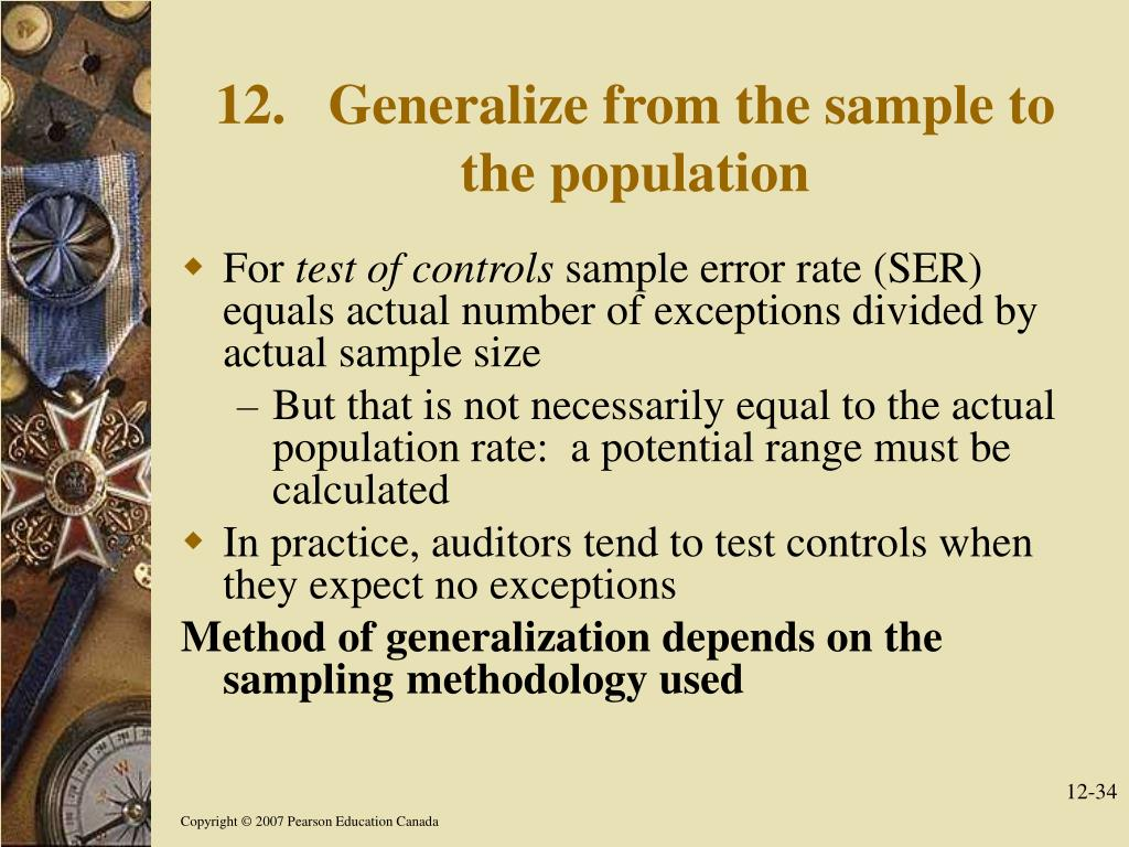 12. Generalize from the sample to the population