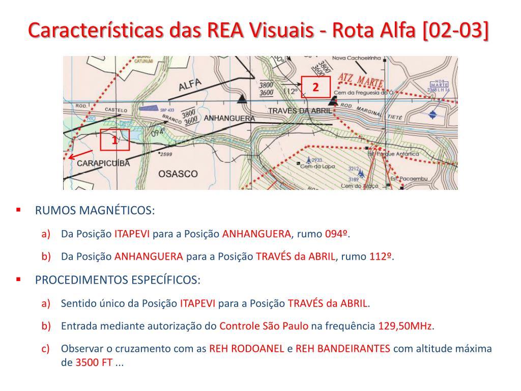 Características das REA Visuais - Rota Alfa