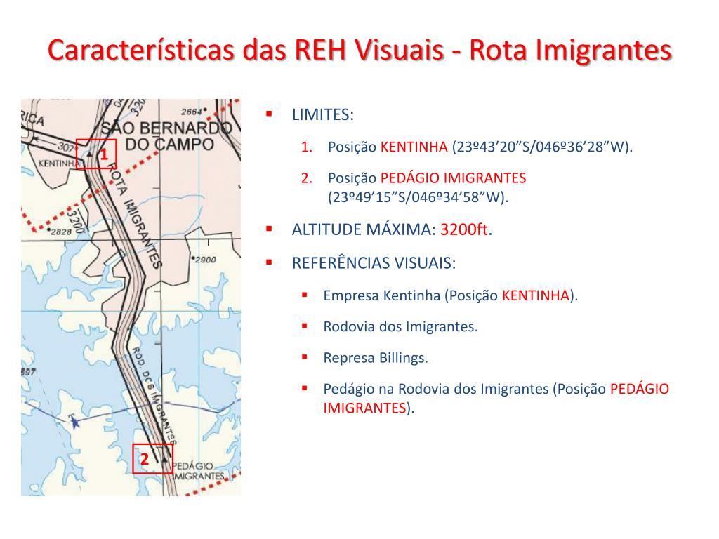 Características das REH Visuais - Rota Imigrantes
