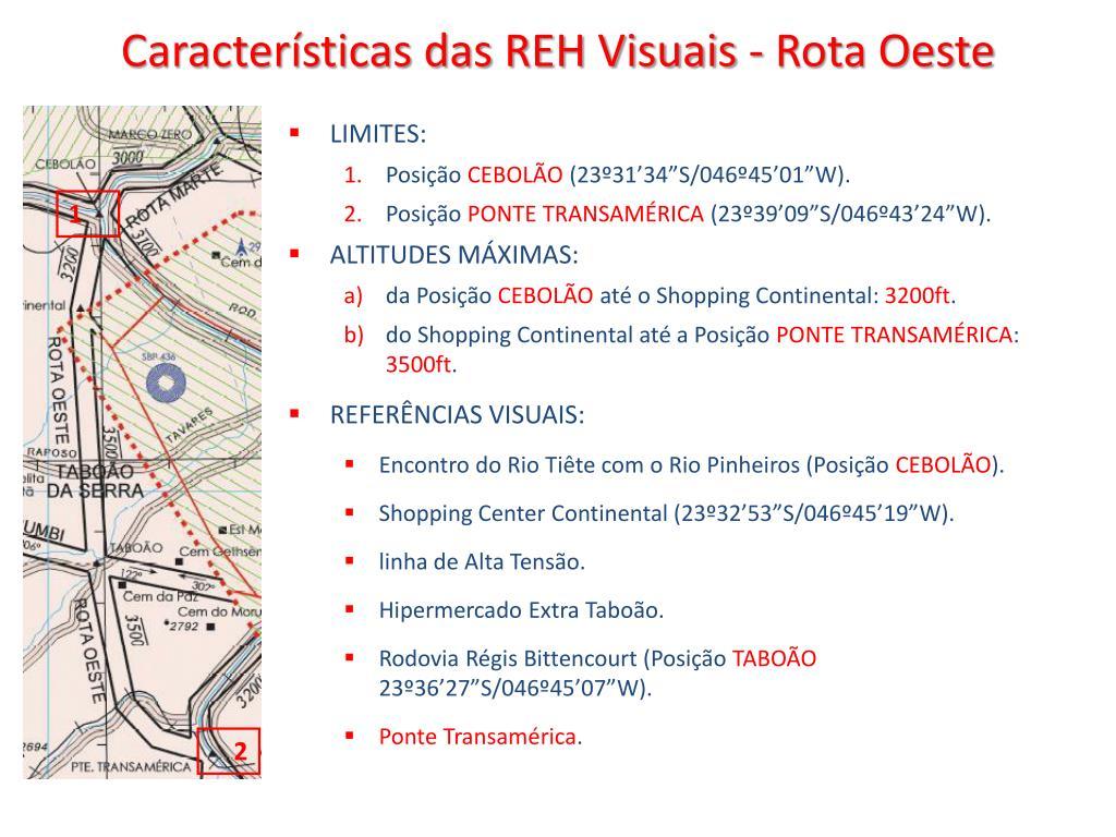 Características das REH Visuais - Rota Oeste