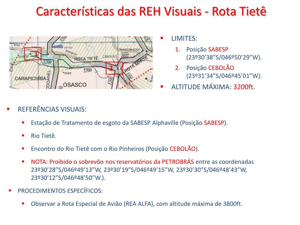 Características das REH Visuais - Rota Tietê