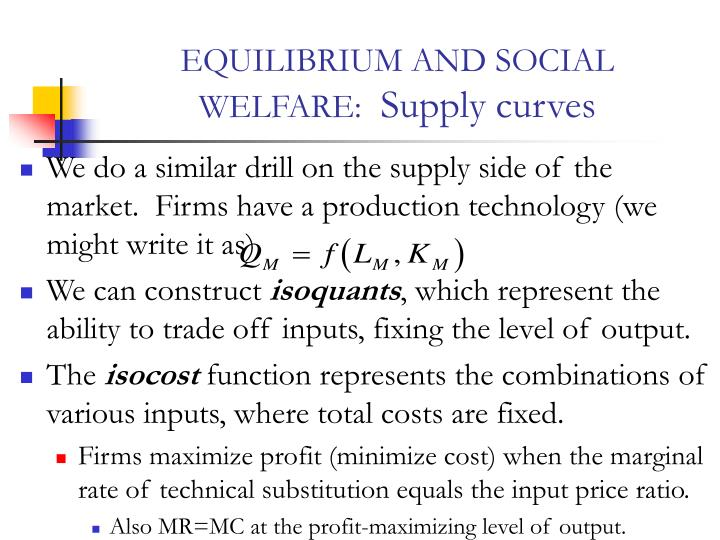 Equilibrium and social welfare supply curves