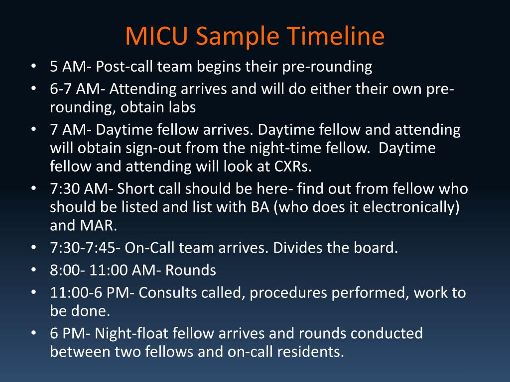 MICU Sample Timeline